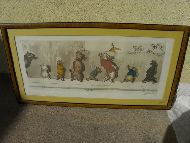 """BORIS O'KLEIN (1893-1985) signed etching """"Dirty Dogs of Paris"""" French"""