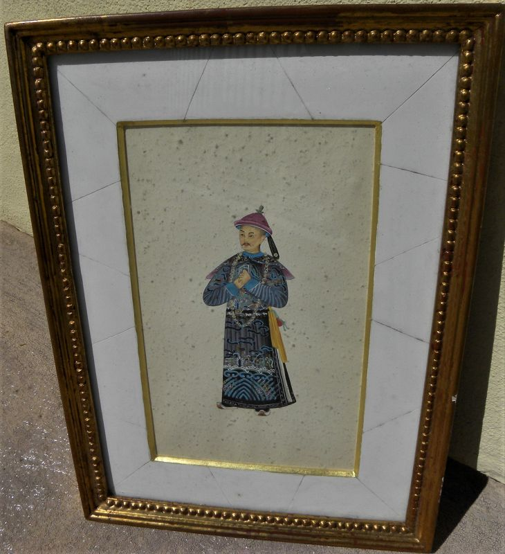 Antique Chinese gouache detailed painting of traditional court figure