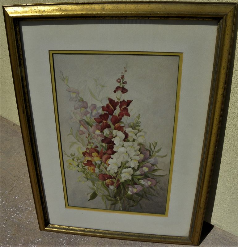 Antique botanical art flowers watercolor of snapdragons