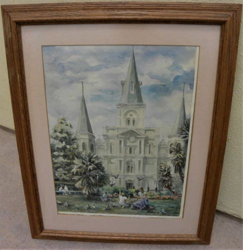 ANN DeLORGE New Orleans Louisiana watercolor painting church