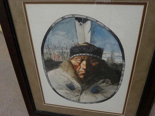 Native American art Lenape tribe original watercolor painting signed