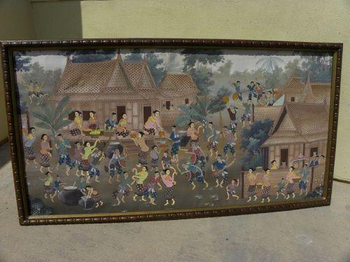 Indonesian or Thai vintage large painting village life