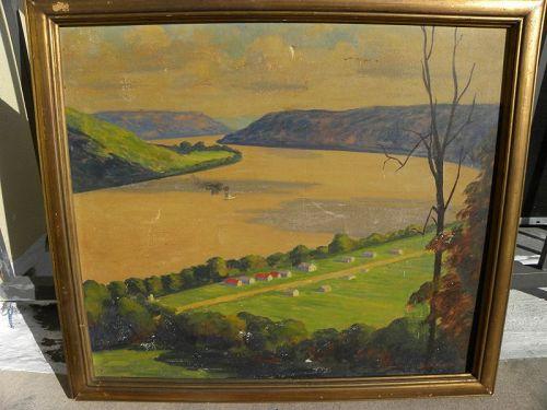 JOHN RALPH SOWELL (1892-1965) Indiana regional art Ohio River painting
