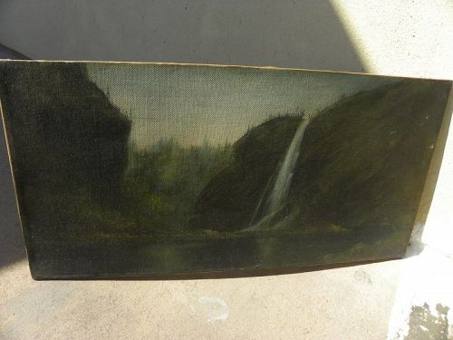 Vintage 1920 painting canyon waterfall signed