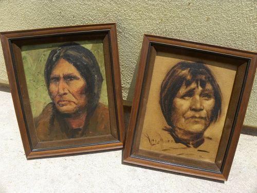CHARLES LaMonk (1910-1990) pair paintings Southwest Native American