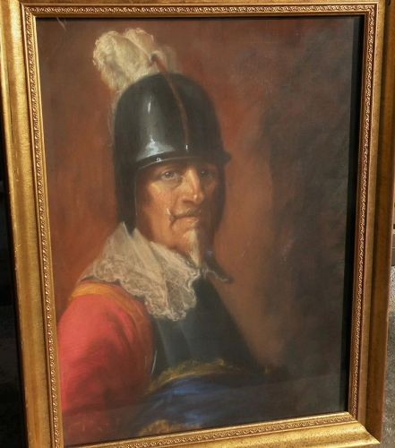 Signed large pastel drawing of helmeted 17th century warrior