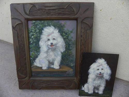 Pair white poodle dog portraits by listed California artist