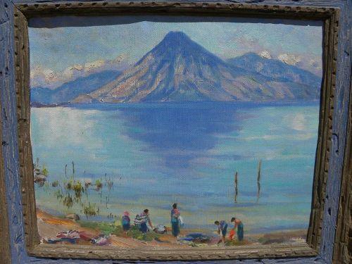Guatemalan painting Lake Atitlan impressionist vintage signed