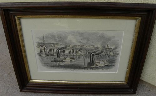Antique print riverboats at Cincinnati mid 19th century