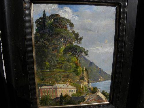 ADOLF DICKERT (1878-) Italian Riviera impressionist Camogli painting