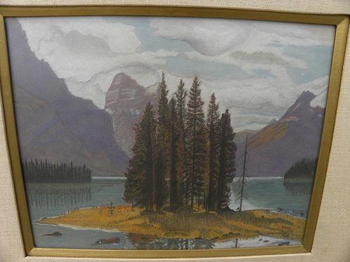 Maligne Lake Alberta Canadian art vintage drawing Spirit Island signed