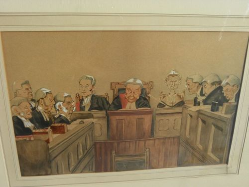 Antique watercolor painting court judges style of Spy or Ape