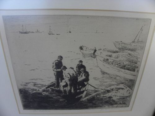 """GEORGE ELMER BROWNE (1871-1946) signed etching """"The Bailers"""""""