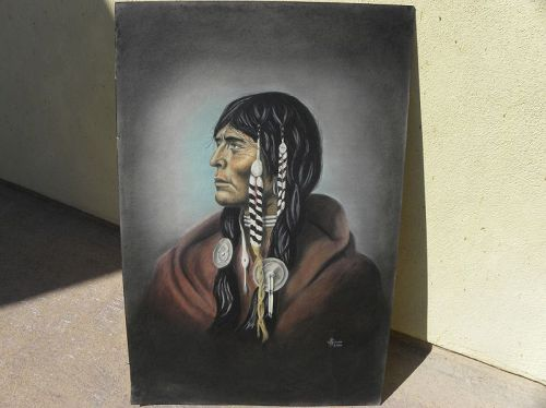 Native American Indian mixed media signed drawing