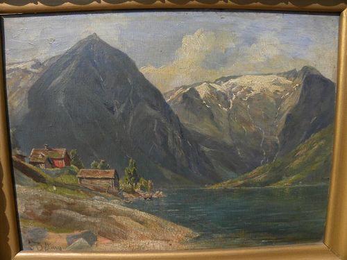 SIGRID BOLLING (1853-1917) Norwegian painting fjord landscape