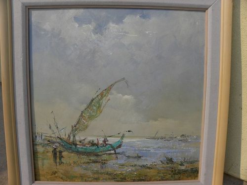 Filipino or Indonesian impressionist painting traditional fishing boat