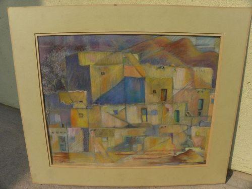 Taos Pueblo New Mexico original pastel drawing modernist signed