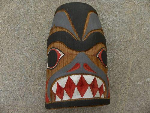 Northwest Coast Alaska Canada wood carving of bear signed