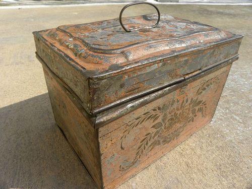 American antique tole tin document box rare pinkish color