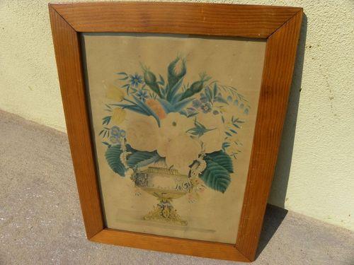 American antique folk art drawing flowers in vase ca. 1850