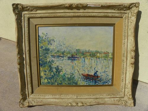 Vintage French impressionist painting Seine River signed 1964