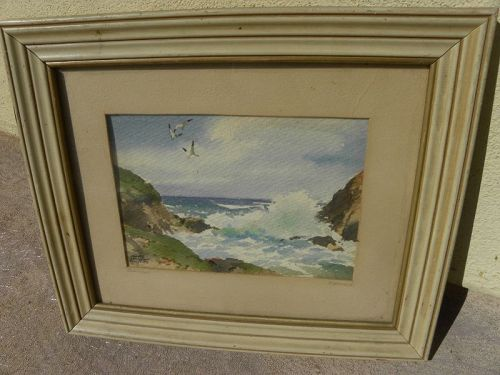 JAMES MARCH PHILLIPS (1913-1981) Carmel California watercolor painting