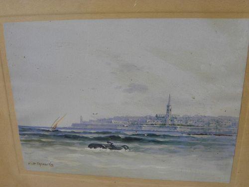 VINCENZO d'ESPOSITO (1886-1946) gouache Valletta Malta painting