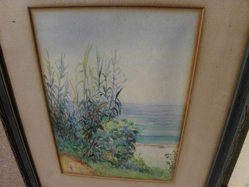 Laguna Beach California 1923 watercolor painting FREDERICK LEEKNEY