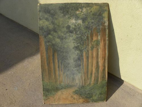 TOKUSABURO KOBAYASHI (1884-1949) Japanese old watercolor tree painting