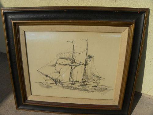 Maui Hawaii original ink drawing 19th century ship WILLIAM SELLERS art