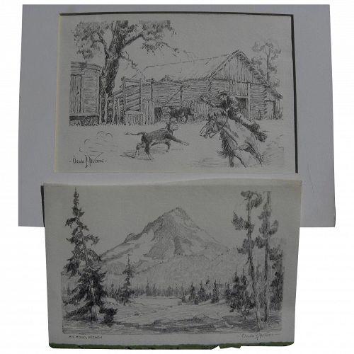 CLAUDE P. PARSONS (1895-1972) **pair** pencil drawings by western American artist
