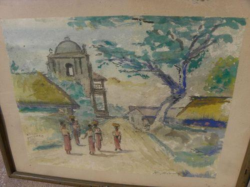 Old Lake Atitlan Guatemala watercolor painting signed