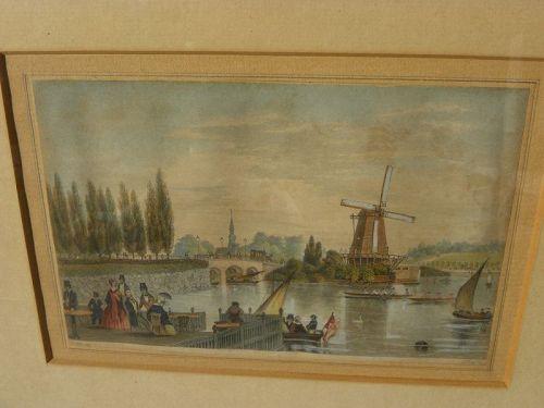 Antique print hand coloring Frisian scene circa 1850