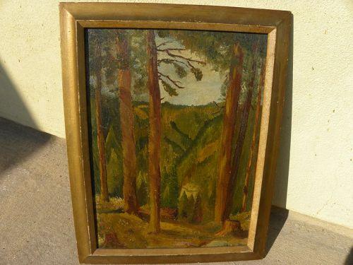Forest canyon landscape painting signed H. Baumgartner