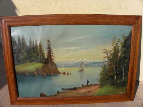 A. CEDRO 19th century California mountain painting listed folk artist