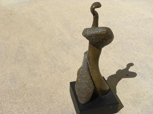 Bronze modern figural sculpture style Henry Moore by IRMA STOLOFF
