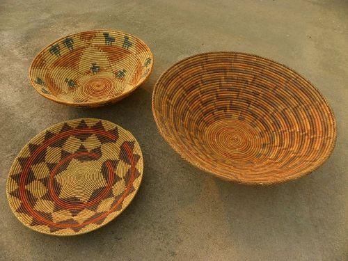 Three hand woven baskets Southwest designs