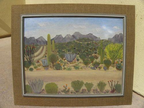 Vintage Southwest desert landscape painting primitive charm style