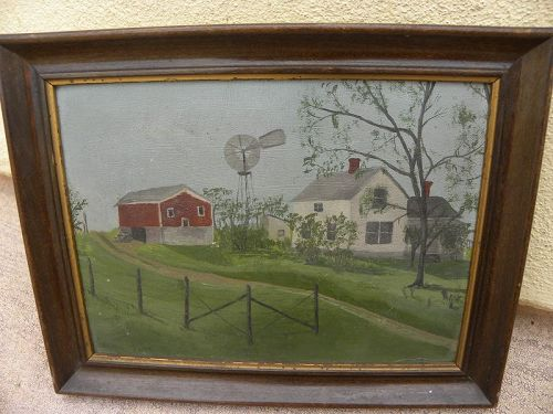 Charming antique small American primitive painting farm homestead