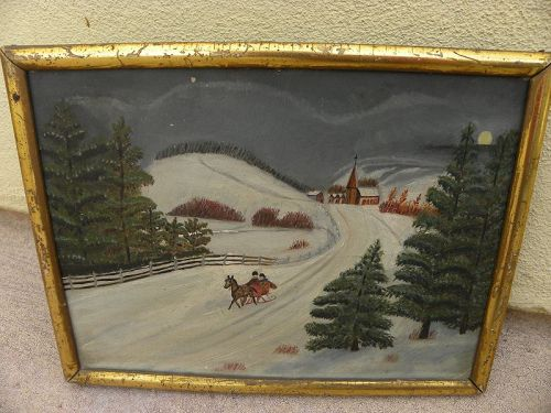 Charming antique small American winter sleigh scene primitive painting