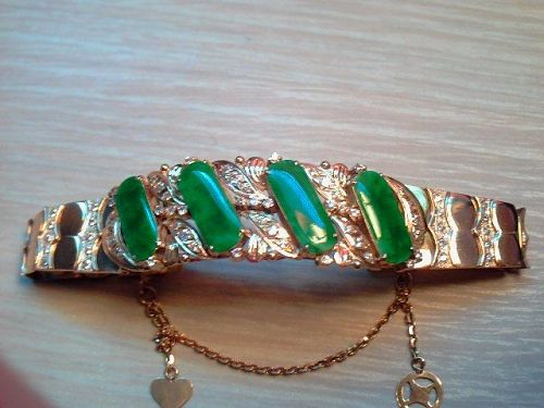 Antique Imperial Green Jade Diamonds 18+ Carat Gold Chinese Bracelet H