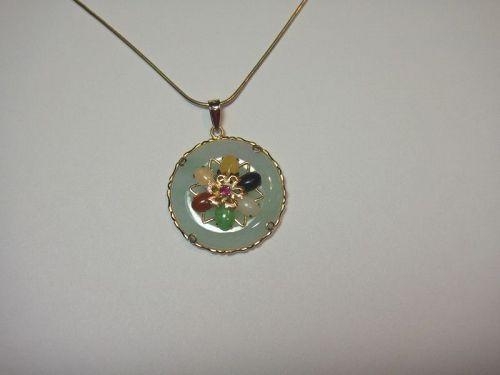 Estate Jade medallion Pendant 14K Yellow Gold Multi Color Jadeite Bead