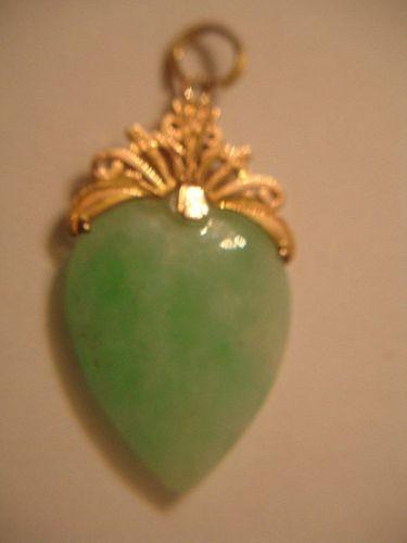 Vintage Jade 14k Gold Filigree Pendant 5.7 grams 1.5 inch