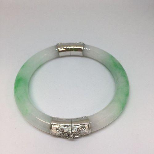 Authentic Jadeite Hinged Bangle Bracelet with 14K White Gold and Diamo