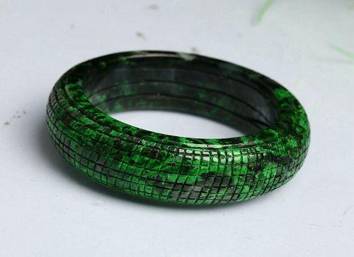 56 mm Cert'd Green Natural Grade A Jade jadeite Bangle Bracelet r76509