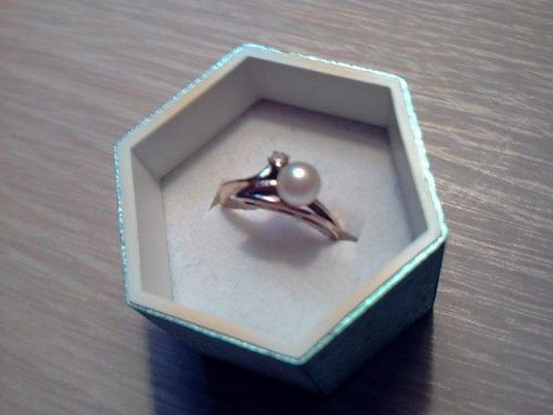6mm Round South Sea white pearl ring, diamond, 10K YG