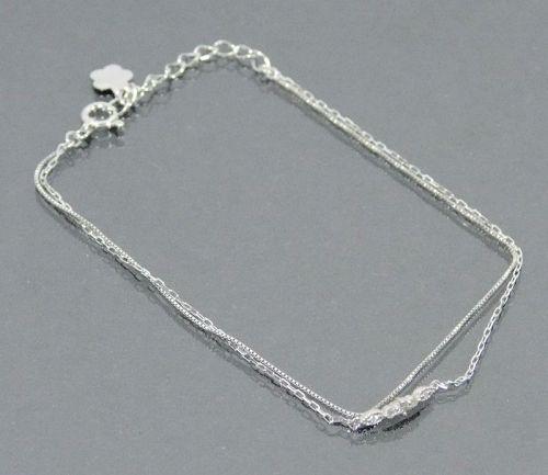 "Authentic Natural 0.04ct 5 point Diamond K10 White Gold Bracelet 6.9"""
