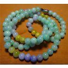 Certified 3 Color Natural Grade A Jade Jadeite 82 Beads Necklace 20inc