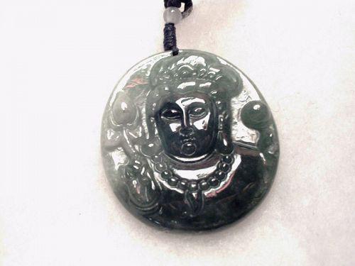 100% Natural Jade Jadeite Pendant Green Avalokitesvara Guanyin Lotus