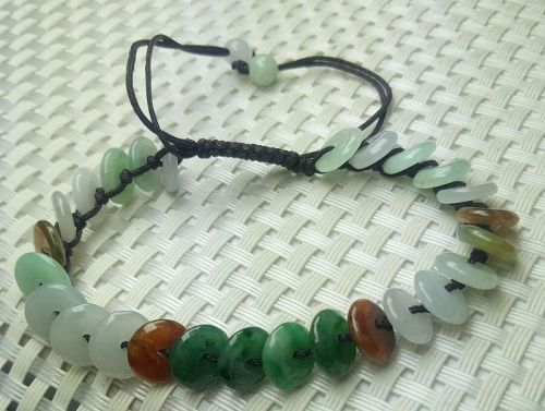 Certified 3 Color Natural A Jade Jadeite Hand-Knitting Circle Beads Br